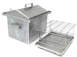 Коптильня Средняя 1,5 мм с гидрозатвором и крышкой домиком для горячего копчения (400x320x350)