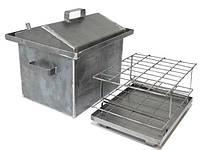 Коптильня Средняя 2,0 мм с гидрозатвором и крышкой домиком для горячего копчения (400x320x350)