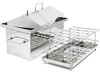 Коптильня Малая из нержавеющей стали с гидрозатвором и крышкой домиком для горячего копчения (450х250х300), фото 1