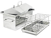 Коптильня Средняя из нержавейки с гидрозатвором и крышкой домиком для горячего копчения (500х300х350), фото 1