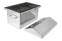 Коптильня Средняя из нержавейки 2 мм с гидрозатвором и крышкой домиком для горячего копчения (500х300х350), фото 1