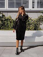 Женское плотное велюровое платье - черный, синий, серый