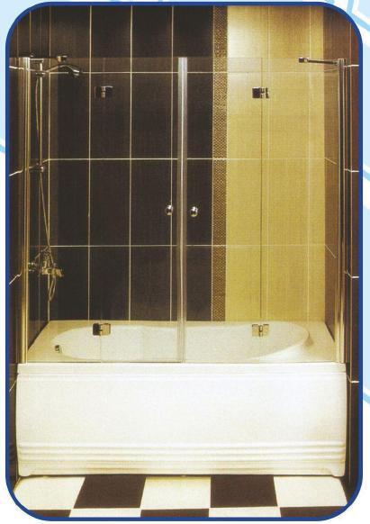 Распашная шторка на ванну 1500х1400