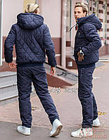 Тёплый зимний спортивный мужской костюм PHILIP PLEIN штаны куртка на овчине тёмно-синий 48 50 52 54 56 58
