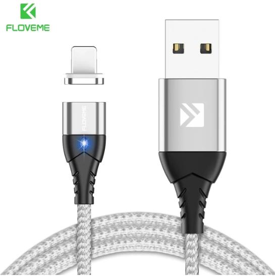 FLOVEME Магнитный кабель usb Lightning быстрая зарядка 3А для iOS Apple iPhone для зарядки Цвет серебристый