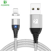 FLOVEME Магнитный кабель usb Lightning быстрая зарядка 3А для iOS Apple iPhone для зарядки Цвет серебристый, фото 1