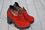 Ботильоны женские на широком каблуке замша красный устойчивая тракторная подошва, фото 2