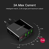 Швидке зарядний пристрій USAMS QC 3,0 3 USB порту дисплей вольтметр Колір Білий iPhone Xiaomi Samsung, фото 3
