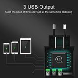 Швидке зарядний пристрій USAMS QC 3,0 3 USB порту дисплей вольтметр Колір Білий iPhone Xiaomi Samsung, фото 4