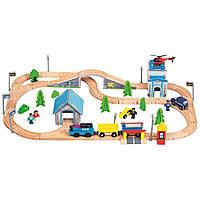 Деревянная железная дорога с полицейским и вертолетом 80 элементов с электро паровозом Bino, фото 1