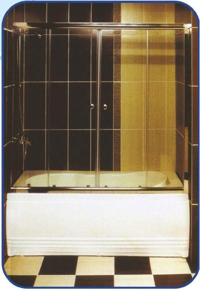 Раздвижная шторка на ванну 1500х1530, фото 1