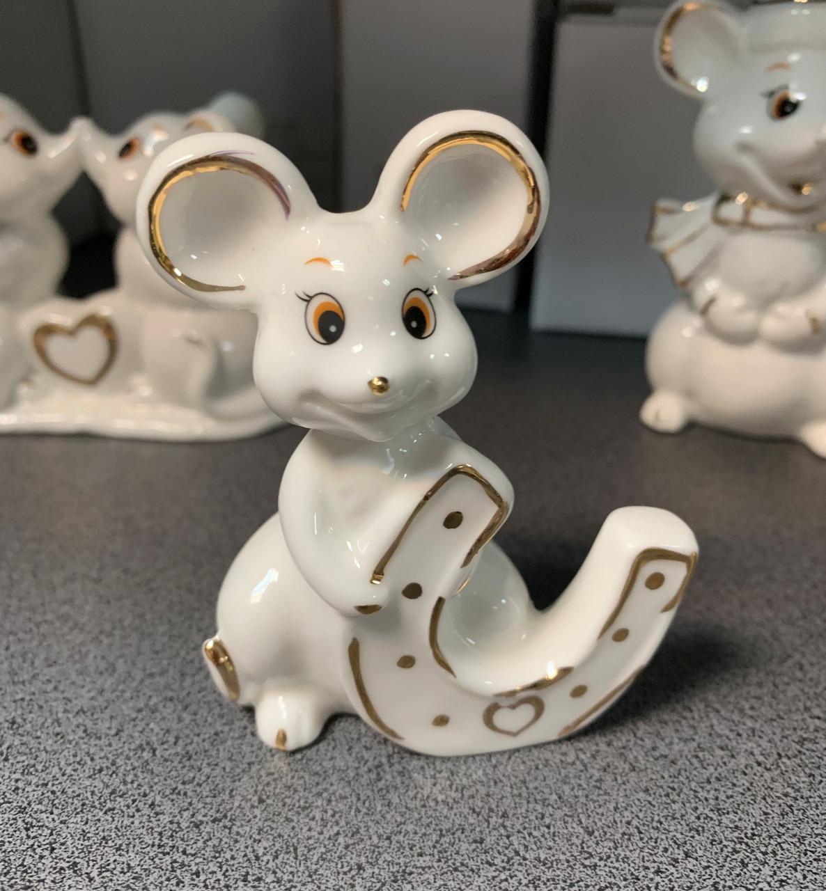Статуэтка Мышка с подковой 149-412. Символ 2020 года
