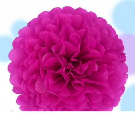 Помпон з паперу тишею для декору малиновий діаметр 30 см