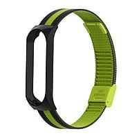 Металлический браслет чёрный с зелёным для фитнес трекера Xiaomi mi band 4 / 3 ремешок аксессуар замена, фото 1