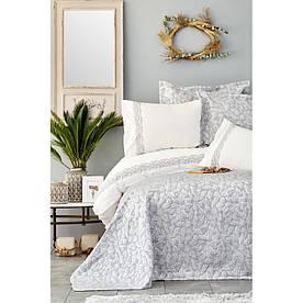 Набор постельное белье с покрывалом Karaca Home - Carolina gri 2019-2 серый евро