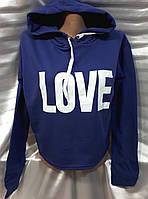 Батник на байке укороченный с капюшоном/ надписью женский LOVE (МИНИМУМ - 2 размера), фото 1