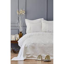 Набор постельное белье с покрывалом пике Karaca Home - Carla ekru 2019-2 молочный евро