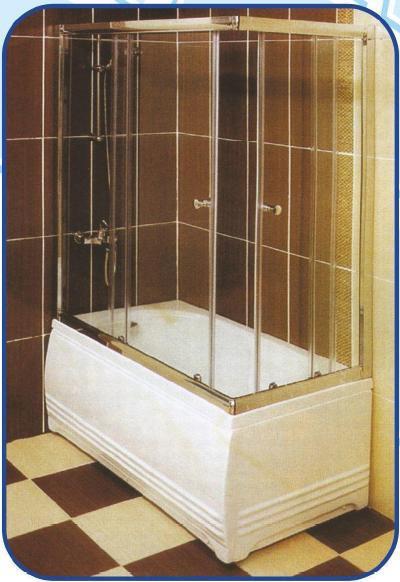 Раздвижная шторка на ванну 1500х1400х800, фото 1