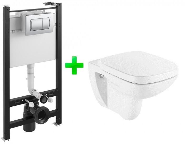 Комплект: DEBBA Rimless унитаз подвесной,  Active инсталляция для унитаза, Active кнопка, сиденье твердое slow-closing