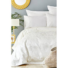 Набор постельное белье с покрывалом пике Karaca Home - Janset ekru 2019-2 молочный евро
