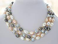 Ожерелье из Натурального барочного ЖЕМЧУГА (барокко) белого, персикового и серого цвета