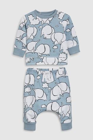 Синий - Свитер с принтом слона и спортивные брюки (комплект) next
