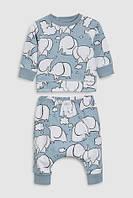 Синий - Свитер с принтом слона и спортивные брюки (комплект) next, фото 1