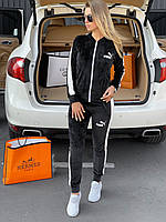 ⭐ Женский черный велюровый спортивный костюм Puma | Жіночий чорний велюровий спортивний костюм Пума (репліка)