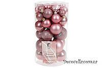Набор елочных шаров розовый бархат, 3см, 4см, 5см, 6см (40 шт)