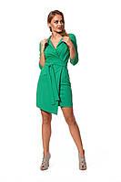 Платье с поясом зеленое