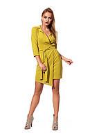 Приталенное платье оливковое, фото 1