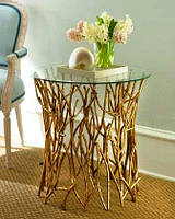 Журнальный столик кованый со стеклом Brushwood.