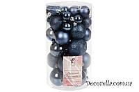 Набор елочных шаров полуночно-синий, 3см, 4см, 5см, 6см (40 шт)