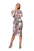 Женское платье с оригинальным принтом персиковое