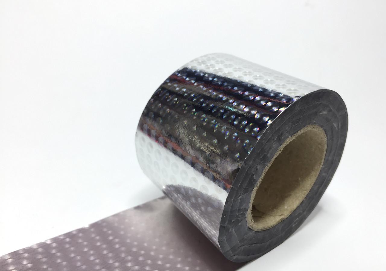 Фольга для ногтей переводная для литья на ногтях 0,5м серебристая с отливом круги