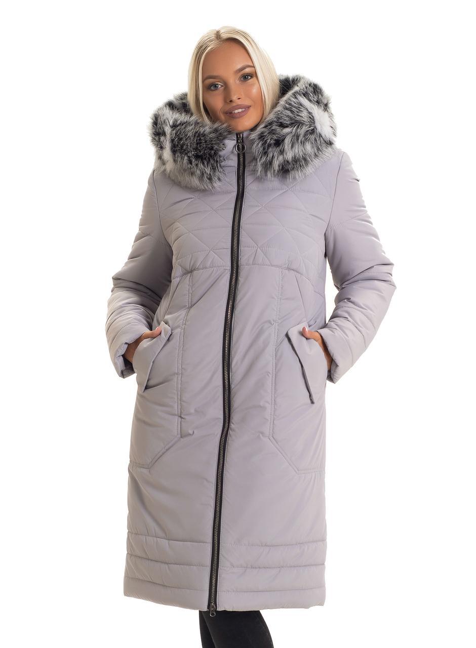 Модный зимний женский пуховик с мехом