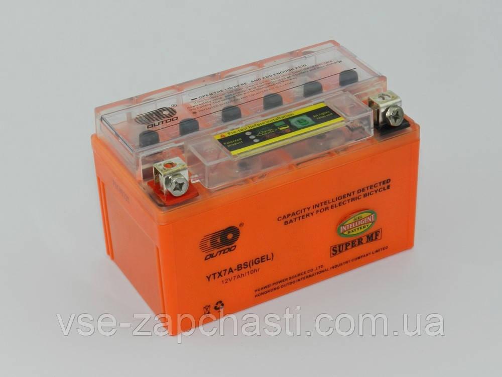 АКБ 7А (150*86*93) GEL оранжевый OUTDO с индикатором (кнопка)