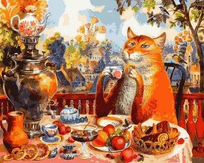 Картина раскраска по номерам на холсте 40*50см  Mariposa Q2127 Кошачье чаепитие