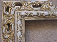 Деревянный багет для оформления рам белый с золотом. Рамы для зеркал и картин.