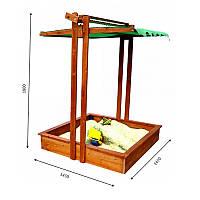 Детская песочница лакированная с бортиком и навесом 145х145х180