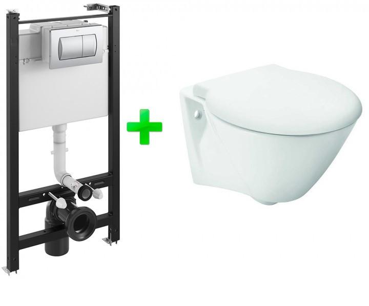 Комплект: VOLTA унитаз подвесной, Active инсталляция для унитаза, Active кнопка, сиденье твердое slow-closing