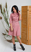 Пудровое женское платье-рубашка с поясом