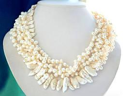 Ожерелье из Натурального барочного ЖЕМЧУГА (барокко, бива) белого цвета