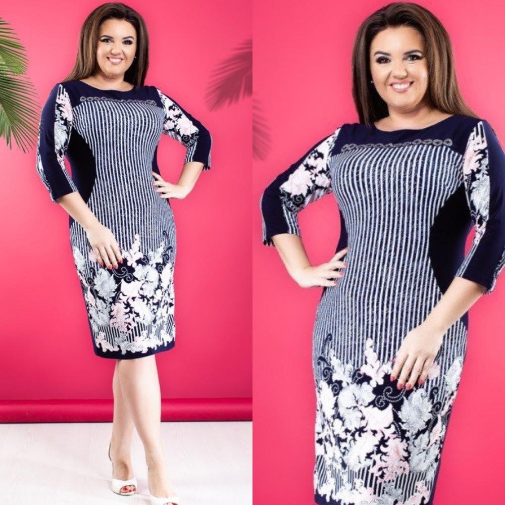 Платье футляр женское повседневное, офисное, ровное, стильное, перед яркий купонный принт, большого размера, фото 1