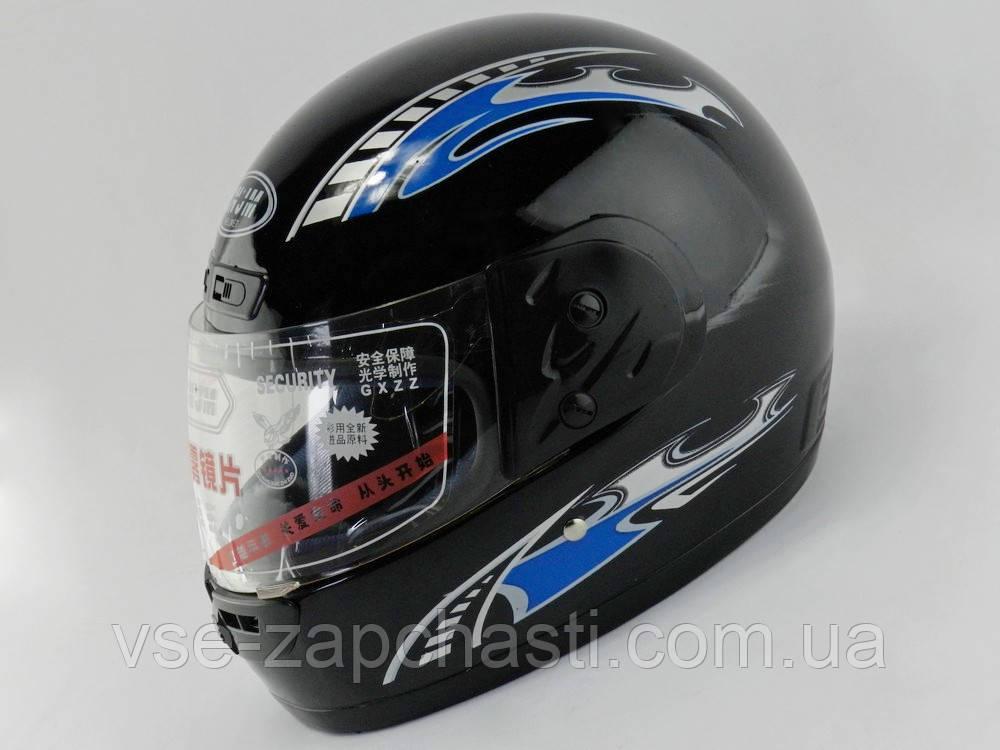 Шлем с подбородком (с воротником) черный глянцевый