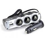 Автомобільний розгалужувач трійник WF-0120 з USB, фото 5