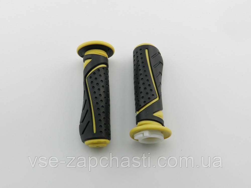 Ручки газа резиновые G черно-желтые, пара