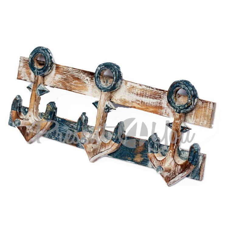 Деревянная вешалка «Якорь» 3 крючки, h-20х50 см. (20300e)