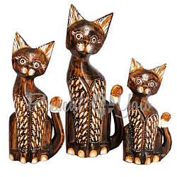 Деревянная статуэтка семья котов «Малах», h-30, h-25, h-20 см. (19138e)