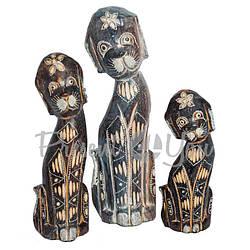 Деревянная статуэтка «Семья собачек расписанных», h-30, 25, 20 см. (16006e)